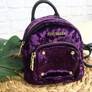 Handbags - STEVE MADDEN velvet royal purple mini backpack